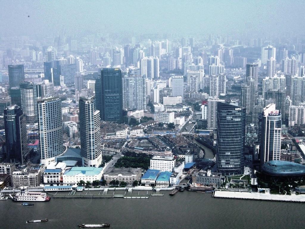 Вид на Шанхай с телебашни Восточная жемчужина